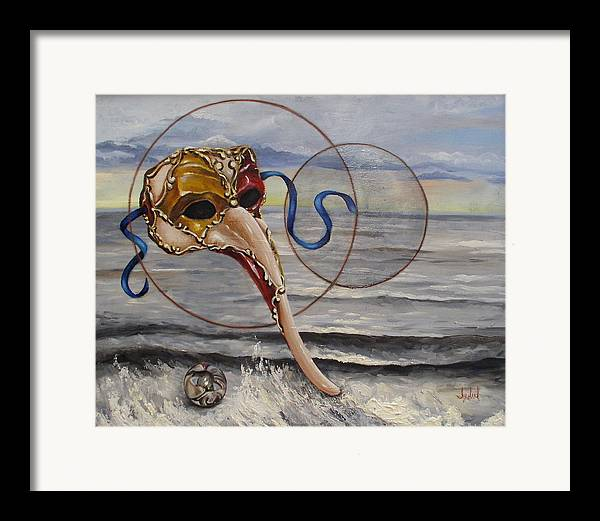 Sacred Geometry Framed Print featuring the painting Over The Ocean by Ixchel Amor