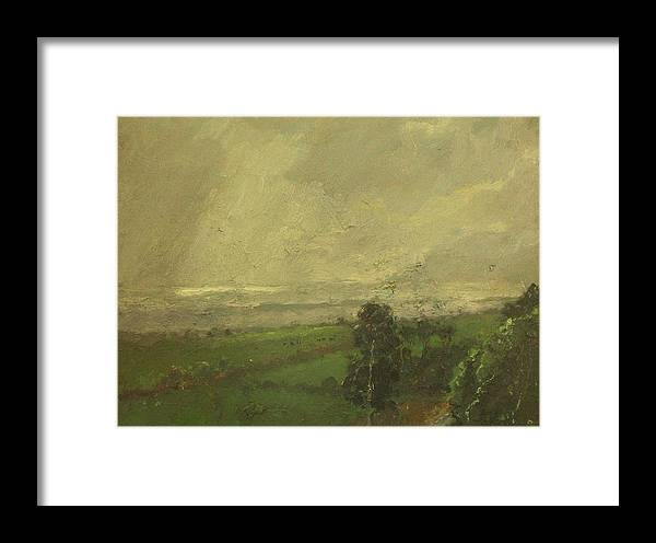 Landscape Framed Print featuring the painting Over The Padocks To The Sea by Malcolm Mason