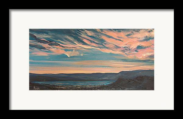 Sunset Framed Print featuring the painting Over The River by Pete Maier
