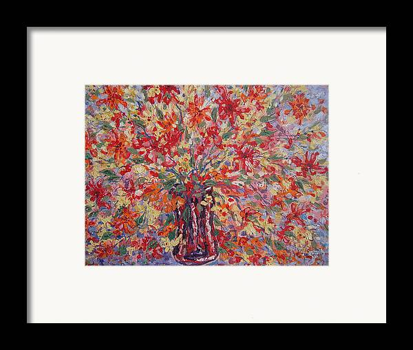 Painting Framed Print featuring the painting Overflowing Flowers. by Leonard Holland