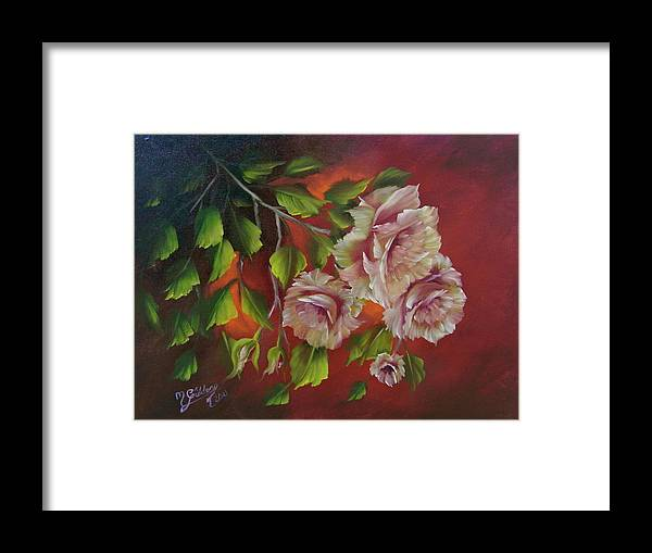 Roses Framed Print featuring the painting Overhanging Roses by Micheal Giddens