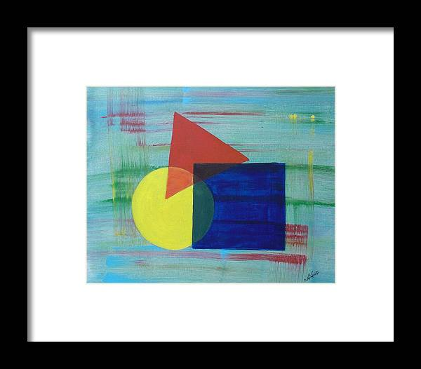 Shapes Framed Print featuring the painting Overlapping Shapes by Nancy Sisco