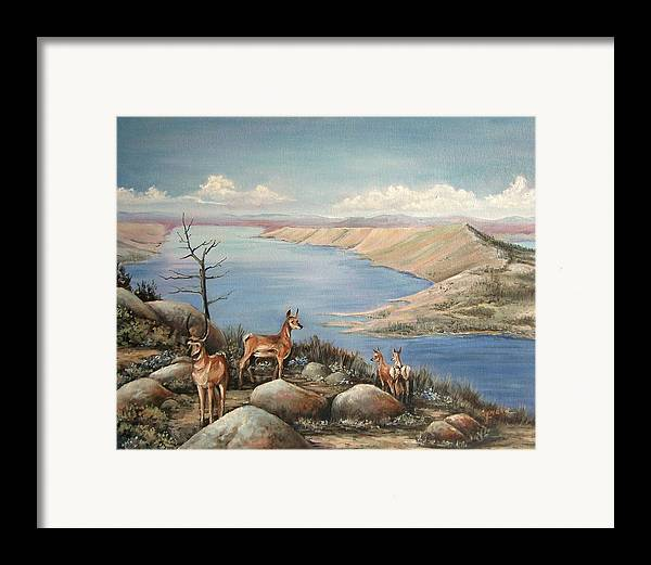 Antelope Overlook Wyoming Landscape Framed Print featuring the painting Overlook by Cynara Shelton