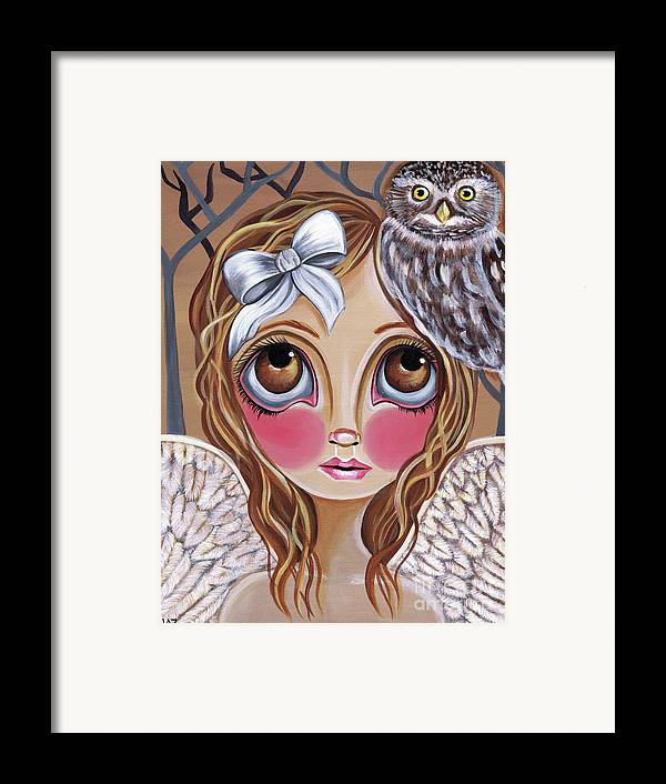 Owl Framed Print featuring the painting Owl Angel by Jaz Higgins