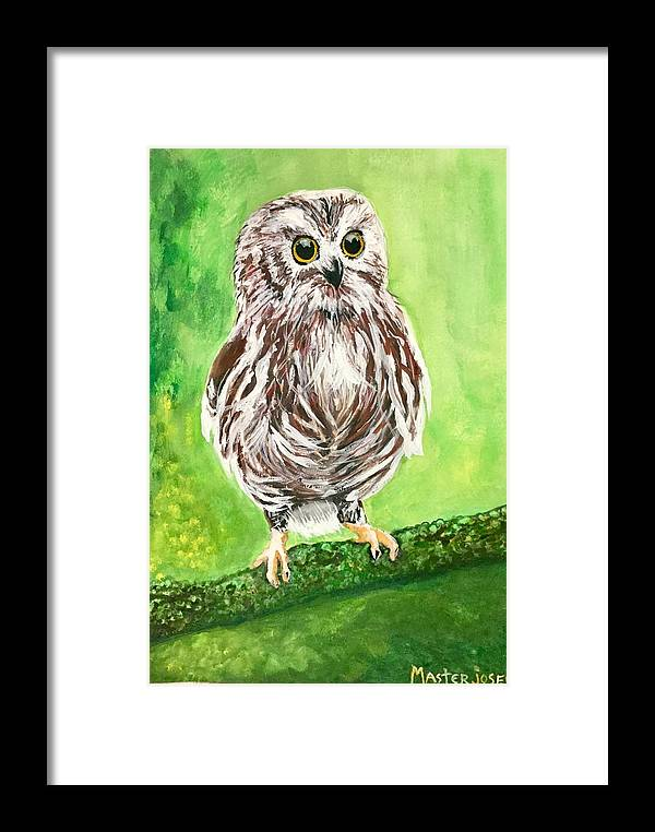 Framed Print featuring the painting Owl by Anthony Masterjoseph