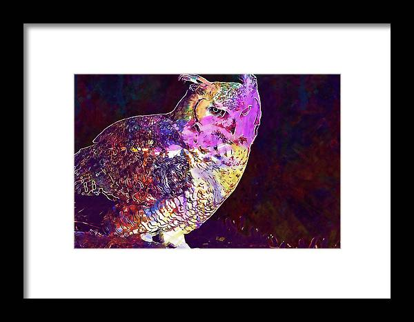 Owl Framed Print featuring the digital art Owl Bird White Raptor by PixBreak Art