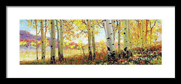 Gay Kim Aspen Tree Landscape Nature Birch Trees Canopy Colorful Sky Original Oil Painting Canvas Contemporary Forest Owl Creek Artist Southwestern Santa Fe National Park Aspen Rocky Moutain Golden Oil Print Art Nature Scenes Healing Trail Santafe Fall Trees Autumn Season Beautiful Beauty Yellow Red-orange Fall Leaves Foliage Autumn Leaf Color Mountain Oil Painting Original Art Horizontal Landscape National Park Morning Nature Wallpaper Outdoor Panoramic Peaceful Scenic Sky Travel Season Bright Framed Print featuring the painting Owl Creek Fall Aspen by Gary Kim