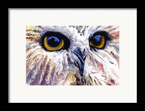 Eye Framed Print featuring the painting Owl by John D Benson