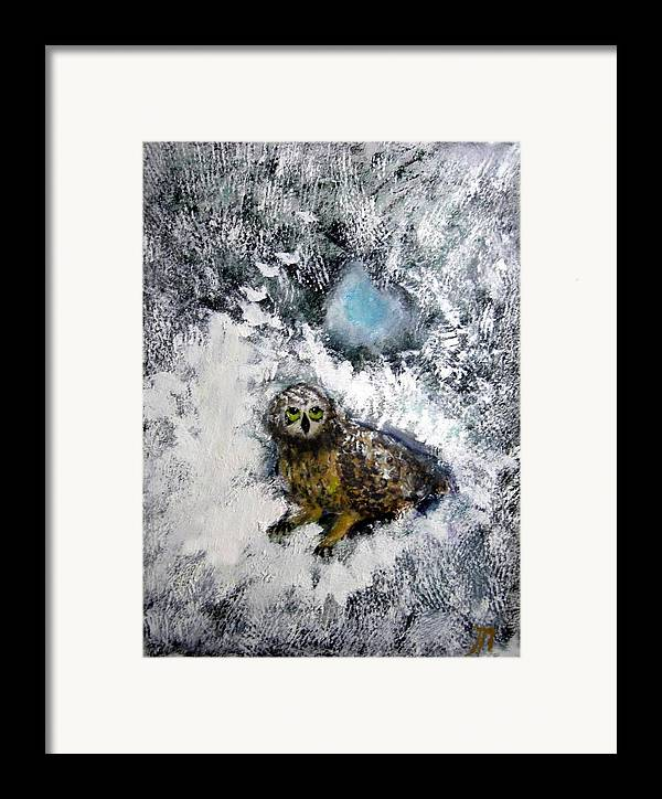Owl Framed Print featuring the painting Owl On Snowy Afternoon by Michela Akers