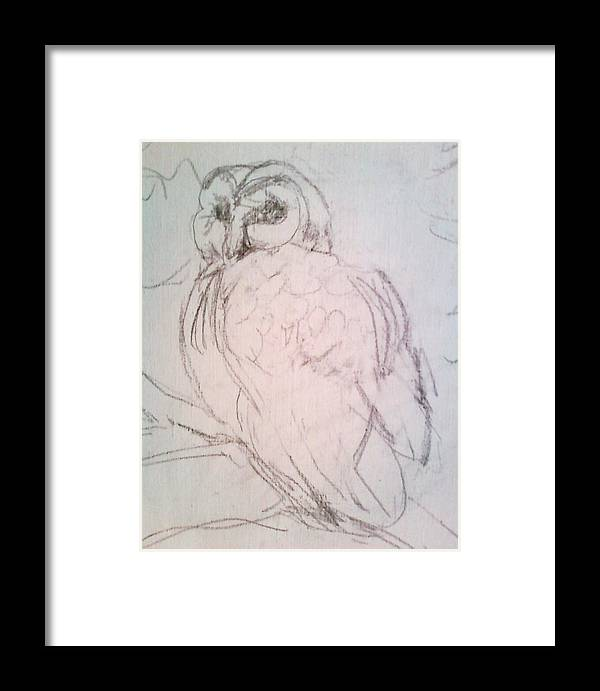 Owl Framed Print featuring the drawing owl by Todd Artist