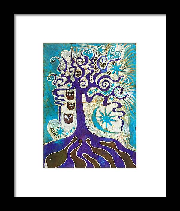 Landscape Framed Print featuring the tapestry - textile Owls In A Summer Tree by Victoria Dresdner