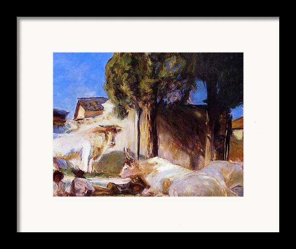 Acrylic Framed Print featuring the painting Oxen Resting by Chris Neil Smith