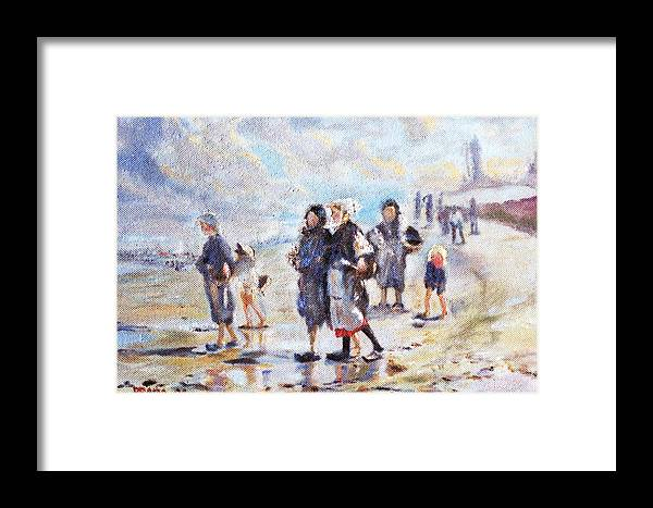 Oil Framed Print featuring the painting Oyster Gatheres Of Cancale by Horacio Prada