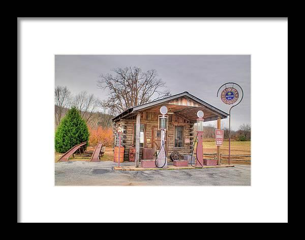 Ozarrk Framed Print featuring the photograph Ozark Car Filling Station by Douglas Barnett