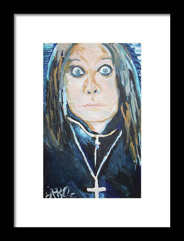 Black Sabbath Framed Print featuring the painting Ozzy by Jon Baldwin Art
