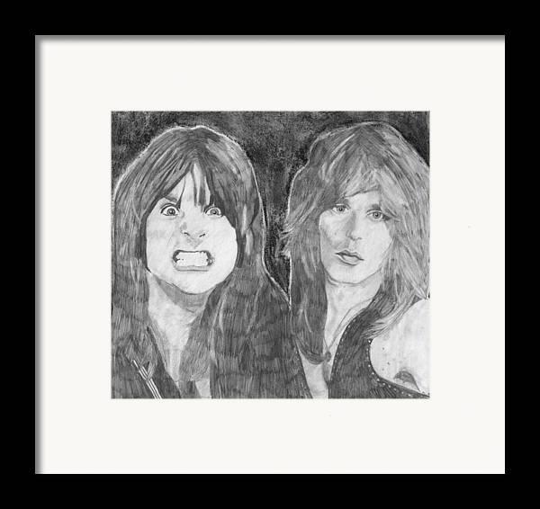 Ozzy Osbourne Framed Print featuring the drawing Ozzy Osbourne And Randy Rhoads by Bari Titen