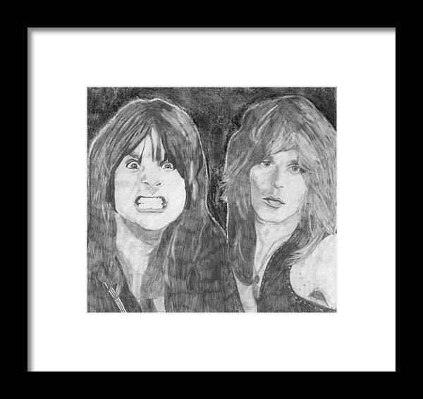 Ozzy Osbourne Framed Print featuring the drawing Ozzy Osbourne And Randy Rhoads by Bari Titen