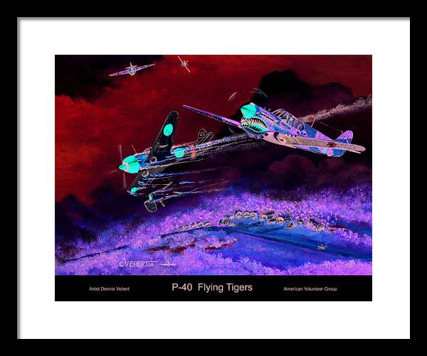 World War Ii Framed Print featuring the painting P-40 Flying Tigers by Dennis Vebert
