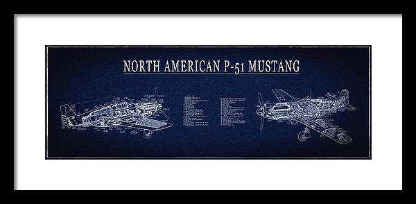P 51 mustang fighter blueprint framed print by daniel hagerman p 51 mustang framed print featuring the digital art p 51 mustang fighter blueprint by malvernweather Gallery