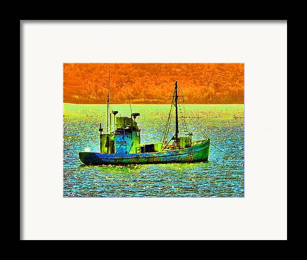 Fishing Boat Framed Print featuring the photograph p1030865001d Fishing Boat by Ed Immar