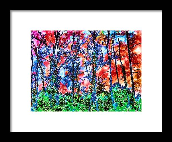 Woods Framed Print featuring the painting p1050894s Kancamagus on Fire by Ed Immar