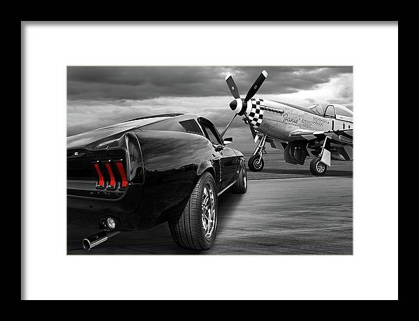 P51 with Black '67 Fastback Mustang by Gill Billington