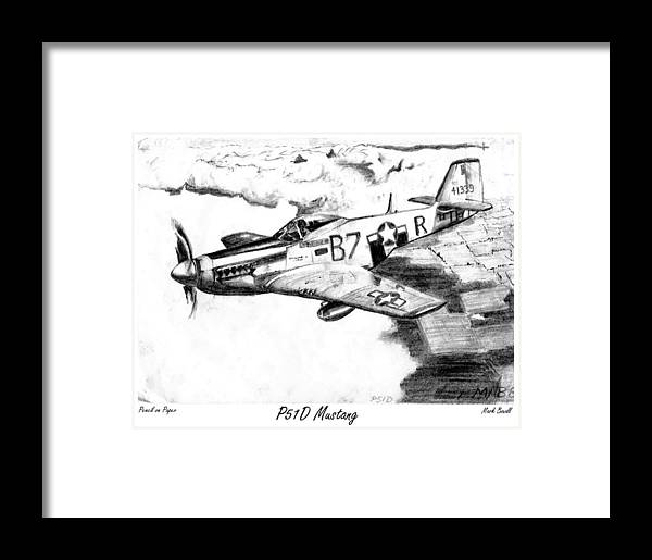 Ww2 Framed Print featuring the drawing P51d Mustang by Mark Boxall