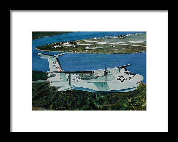 Airplane Framed Print featuring the painting P5m Over North Island by Dwight Williams