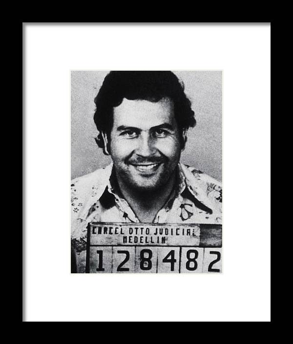 Pablo Escobar Framed Print featuring the photograph Pablo Escobar Mug Shot 1991 Vertical by Tony Rubino