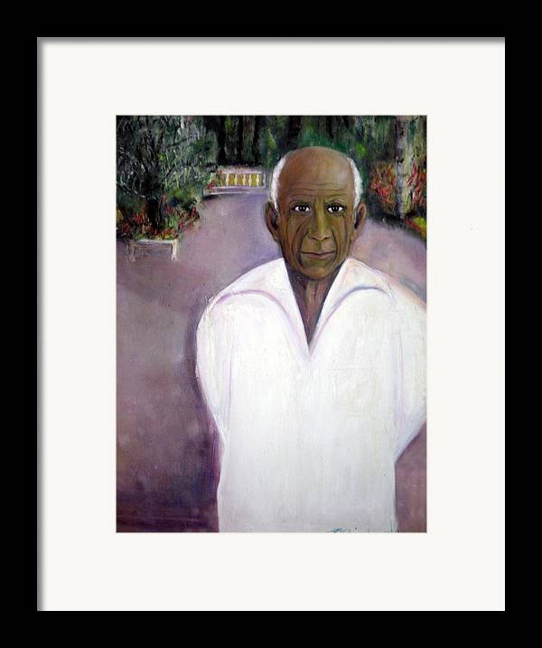 Famous Artist Framed Print featuring the painting Pablo Picasso At Villa Mariposa by Michela Akers