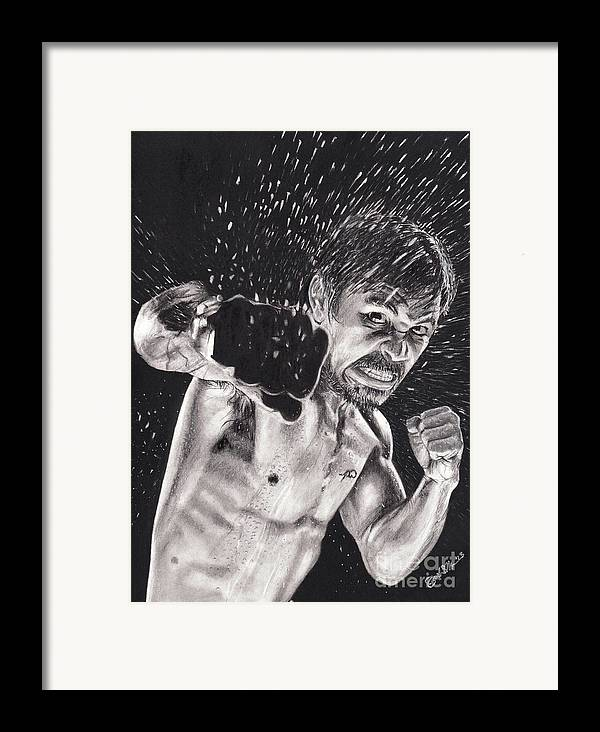Manny Pacquiao Framed Print featuring the drawing Pac-man by Joshua Navarra