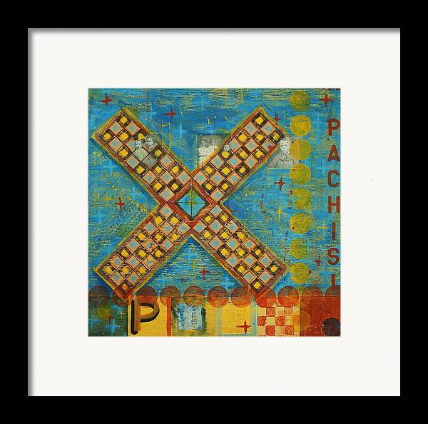 Games Framed Print featuring the painting Pachisi by Judy Anderson