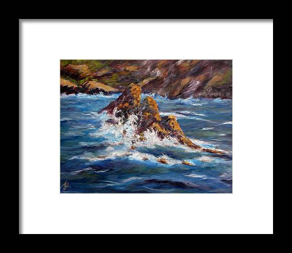 Sea Coast Framed Print featuring the painting Pacific Coast by Thomas Restifo