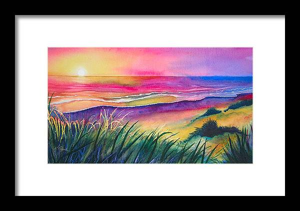 Pacific Framed Print featuring the painting Pacific Evening by Karen Stark