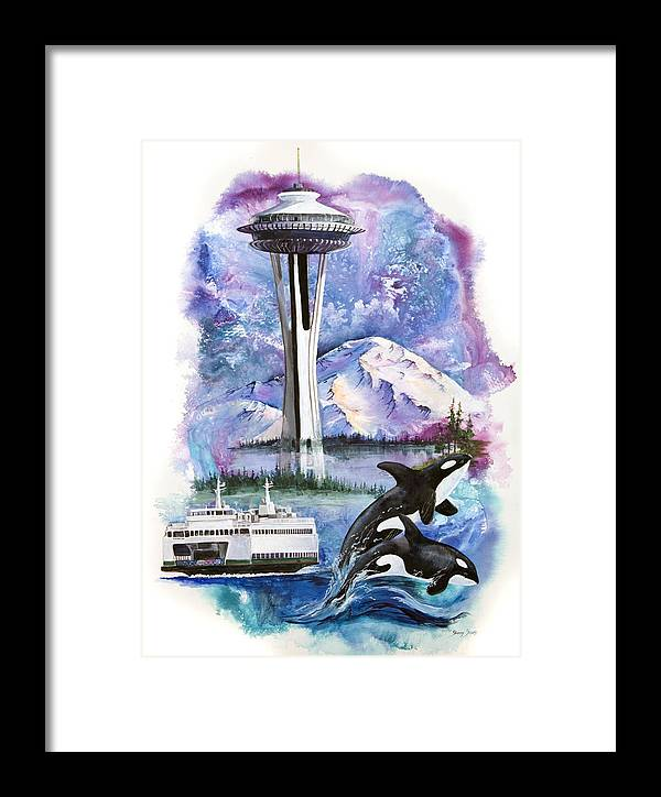 Mount Rainier Framed Print featuring the painting Pacific Northwest Montage by Sherry Shipley