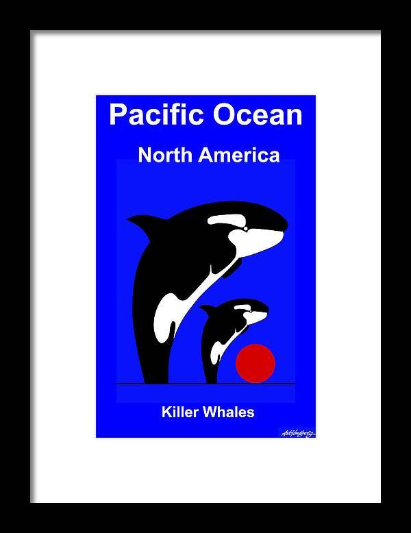Framed Print featuring the digital art Pacific Ocean - North America by Asbjorn Lonvig