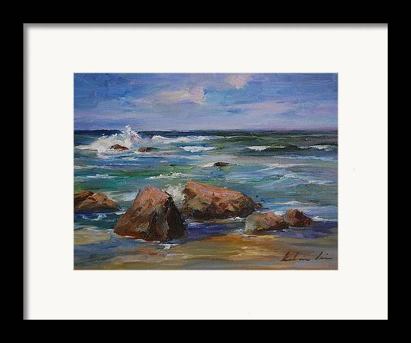 Seascape Framed Print featuring the painting Pacific Ocean by Kelvin Lei