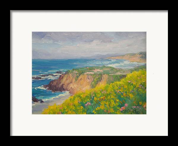 Seascape Framed Print featuring the painting Pacific Sun by Bunny Oliver