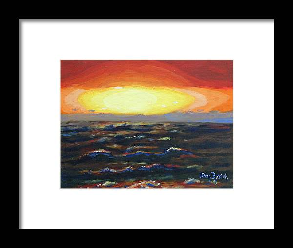 Setting Sun Framed Print featuring the painting Pacific Sunset by Dan Bozich