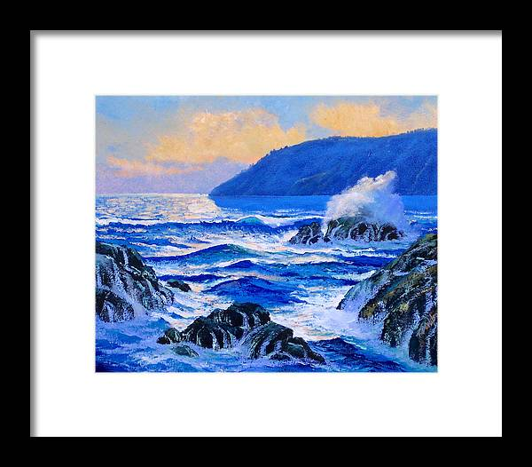 Ocean Framed Print featuring the painting Pacific Sunset by Frank Wilson