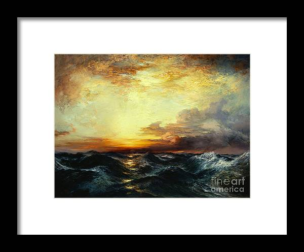 Thomas Moran Framed Print featuring the painting Pacific Sunset by Thomas Moran