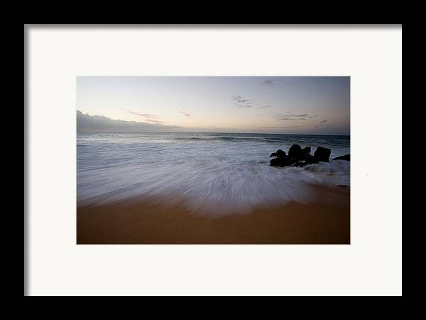 Water Framed Print featuring the photograph Pacific Wave On Beach - Oahu by Brad Rickerby