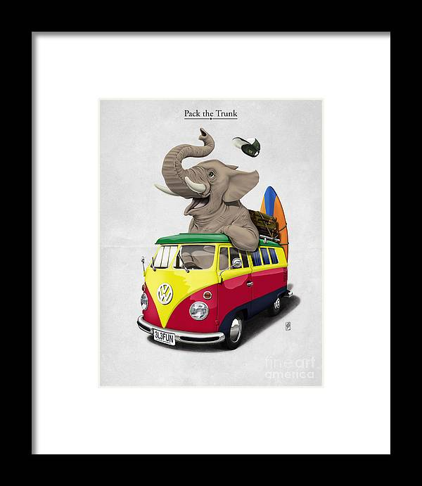 Elephant Framed Print featuring the digital art Pack The Trunk by Rob Snow