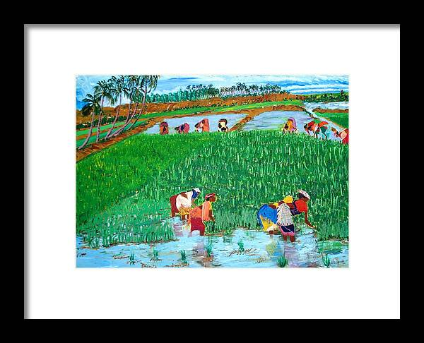 Paddy Framed Print featuring the painting Paddy Planters by Narayan Iyer