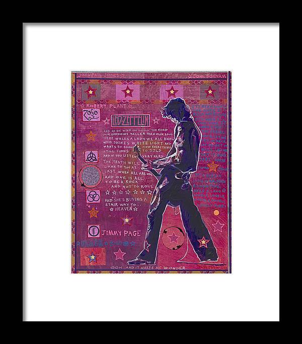 Jimmy Page Framed Print featuring the mixed media Page In Pink by Ray Stephenson