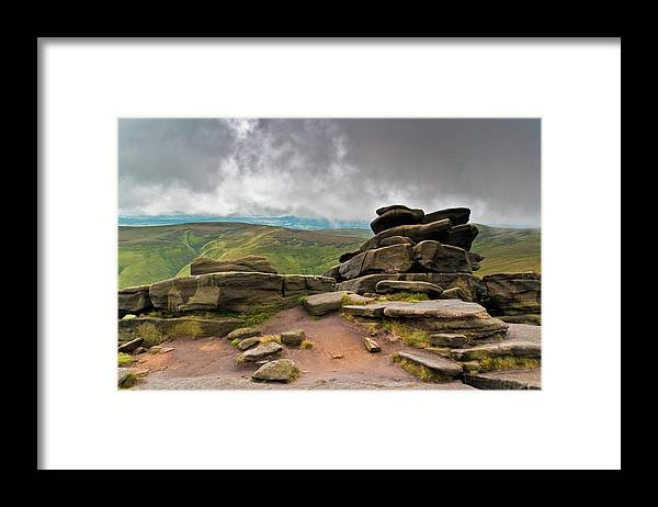 Landscape Framed Print featuring the photograph Pagoda #1, Kinder Scout, Peak District, North West England by Anthony Lawlor