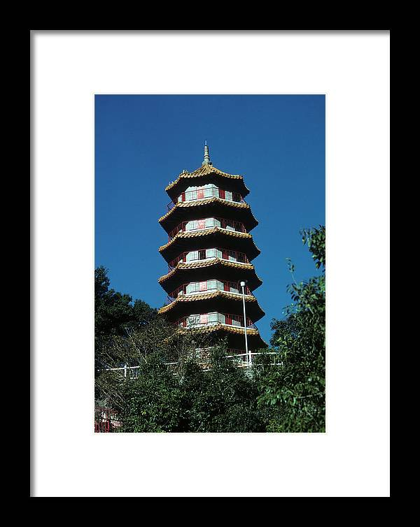 Chinese Framed Print featuring the photograph Pagoda In Taiwan by Carl Purcell