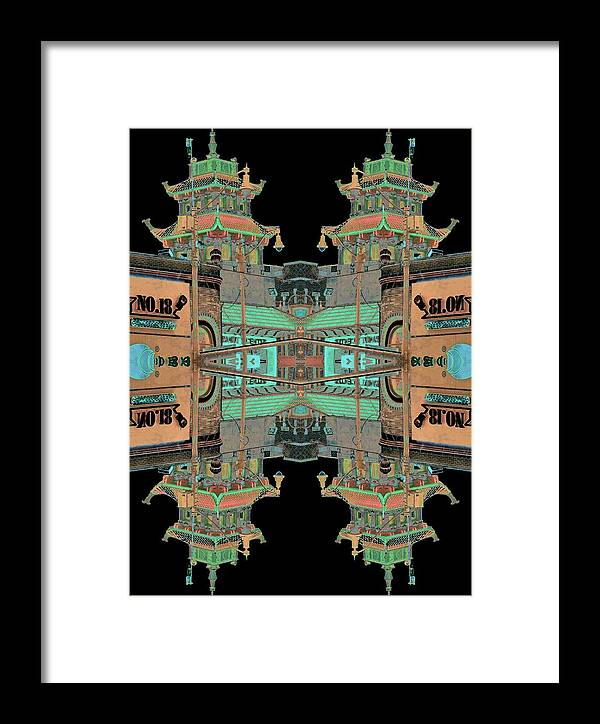 China Town Framed Print featuring the photograph Pagoda Tower Becomes Chinese Lantern 1 Chinatown Chicago by Marianne Dow