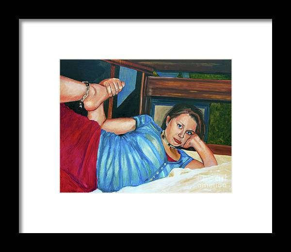 Hilary J England Rural American Youth Series Contemporary Artist Realist Artwork Framed Print featuring the painting Pain In The A by Hilary England
