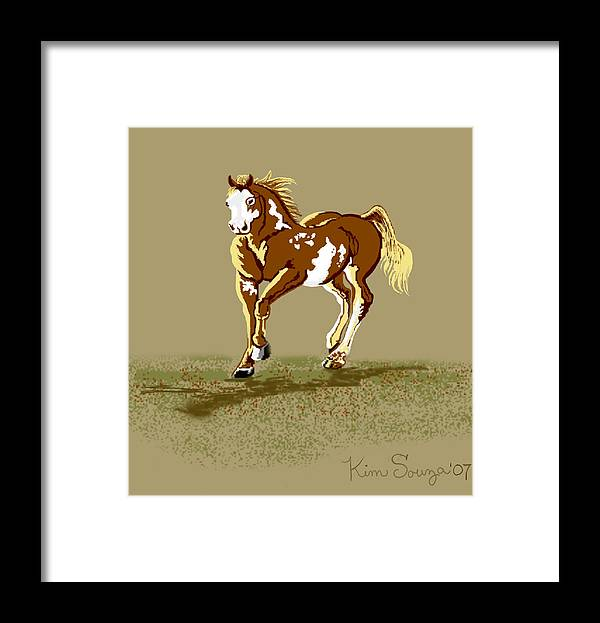 Horses Framed Print featuring the digital art Paint Horse by Kim Souza